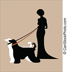 lady in gown holding 2 afghans on leads in silhouette