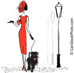 walking lady in red with small black dog