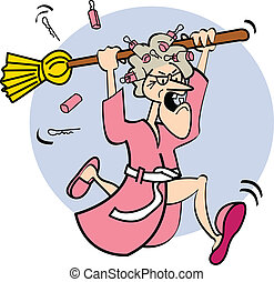 Lady With Broom - Angry cartoon lady holding a broom while...