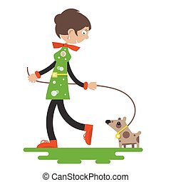 Lady with Dog Isolated on White Background. Flat Design Vector Cartoon.