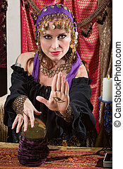 Lady with Evil Eye Curse - Mysterious female fortune teller ...
