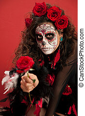 Lady With Facepaint and Roses