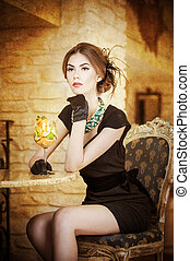 Lady with gloves in restaurant