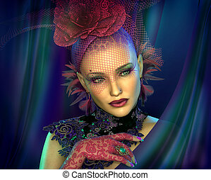 Lady with Hat, 3d CG
