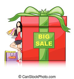 Lady with Shopping Bag leaning on Gift Box