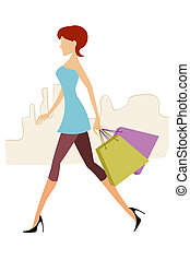 lady with shopping bags