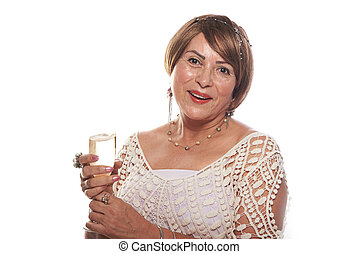 lady with short hair and champagne