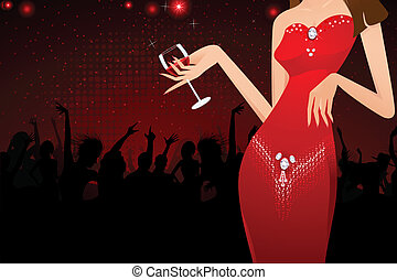 Lady with Wine Glass - illustration of lady holding glass of...