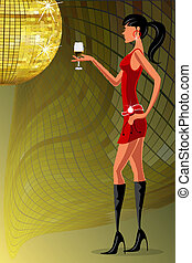 lady with wine glass in a party