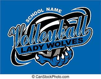 lady wolves volleyball design with claw holding ball for...