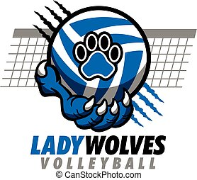 lady wolves volleyball design with paw holding ball and net ...