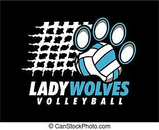lady wolves volleyball design with paw print ball and net for school, college or league
