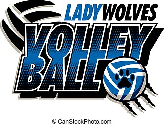 lady wolves volleyball team design with ball and paw print...