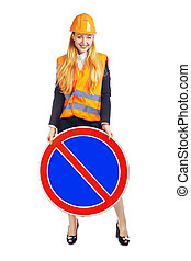 Lady Worker With Road Sign