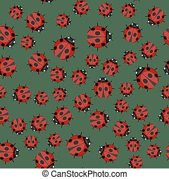 Ladybag Seamless Pattern on Green Background
