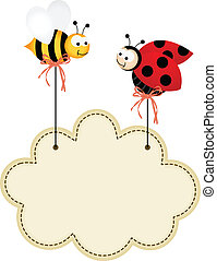 Ladybird and Bee with Cloud Label