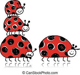 Ladybird family for your design. Vector illustration