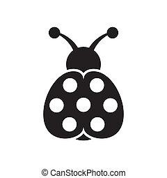 Ladybird icon - Black vector cute seven spot ladybird icon ...