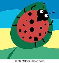 Ladybird on white background . Vector illustration. -...