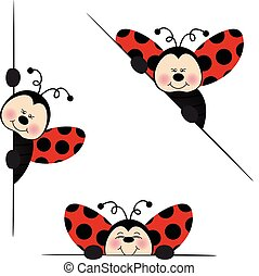 Ladybird peeking from behind - Scalable vectorial image...