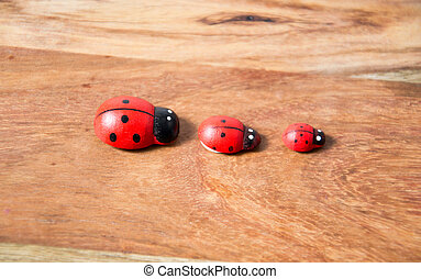 ladybirds made of wood