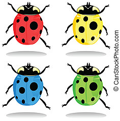 Ladybirds of different colour. A vector illustration