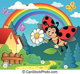 ladybug, blomst, image, tema, 4, holde