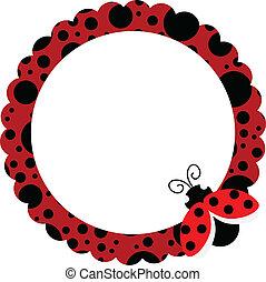 ladybug, círculo, quadro
