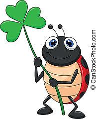 ladybug, caricatura, com, trevo, folha