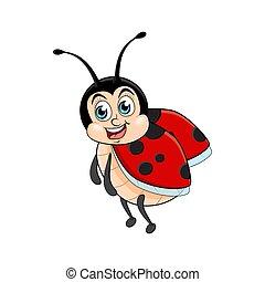 Ladybug cartoon funny isolated on white background