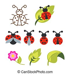 Ladybug clipart set with green leaves and outline bug.