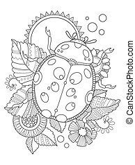 Ladybug coloring book vector illustration