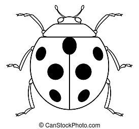 Ladybug contour icon - Illustration of the contour ladybug...