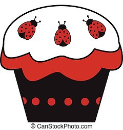 Ladybug Cupcake - Pretty red and black ladybug cupcake