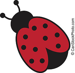 Cute red and black isolated ladybug