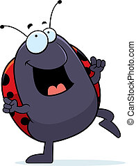Ladybug Dancing - A happy cartoon ladybug dancing and...