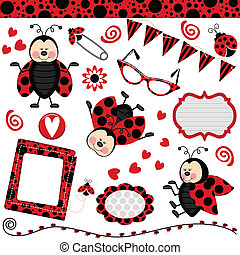 Scalable vectorial image representing a ladybug digital collage, isolated on white.