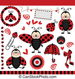 Ladybug Digital Scrapbook - Scalable vectorial image...