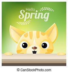 ladybug, estação, gato, olhar, fundo, primavera, olá, vermelho