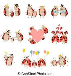 ladybug, família, cute, jogo, pai, ilustração, insetos, seu, vetorial, caráteres, mãe, bebês, adorável, caricatura, feliz