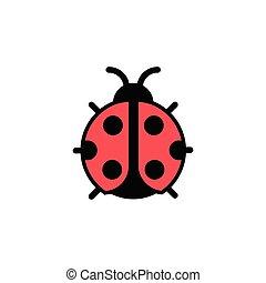 Ladybug. Filled color icon. Animal vector illustration - ...