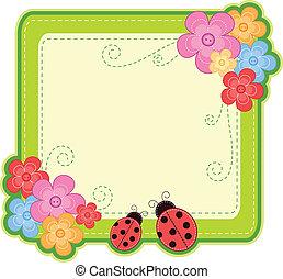 ladybug frame - frame with ladybugs and flowers