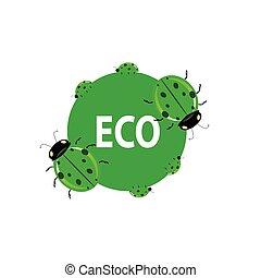 ladybug green eco vector