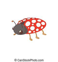 Ladybug icon, cartoon style