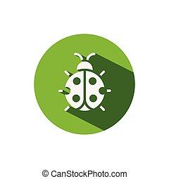 Ladybug. Icon on a green circle. Animal vector illustration