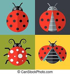 Ladybug icons in flat style on color background