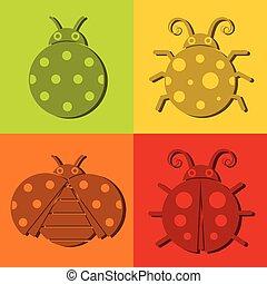 Ladybug icons on color background