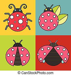 Ladybug icons with black stroke on color background