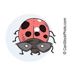 ladybug, imagem, mão, desenhado