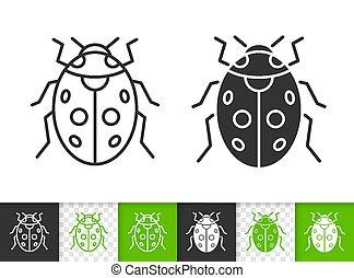 Ladybug ladybird bug simple black line vector icon